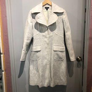 White Bebe Sparkle Button Down Coat
